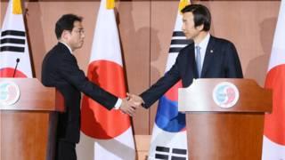 日本外相岸田文雄(左)與韓國外長尹炳世(右)在28日的聯合記者會上握手。
