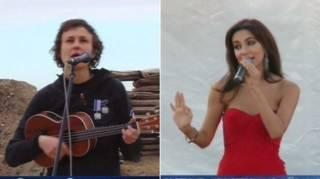 Ca sĩ nga Yulia Chicherina (trái) và Zara (phải)