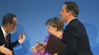 кэмерон, меркель и пан ги мун