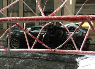 Падение крана в Нью-Йорке