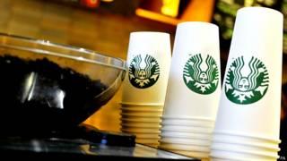 Vasos de bebidas en Starbucks