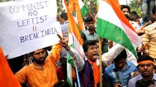 कोलकाता में कन्हैया कुमार के विरोध में एक रैली