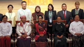Speakers of parliament and foreign parliamentary representatives ahead of a workshop to train newly elected Burmese lawmakers