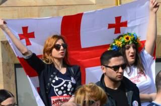 """Акция протеста против переговоров с """"Газпромом"""" в Тбилиси"""