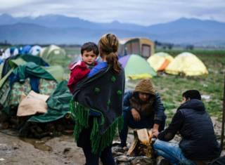 Лагерь беженцев на греческо-македонской границе