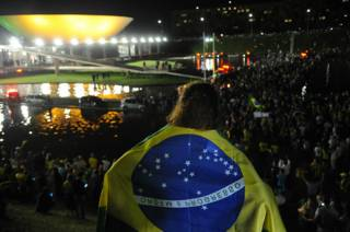 Manifestantes se concentraron este miércoles frente al palacio de gobierno de Planalto, en Brasilia.