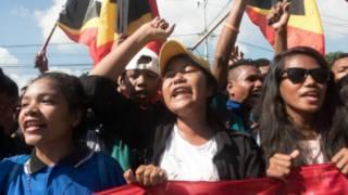 Aksi demonstrasi di Dili