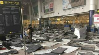 Аэропорт Завентем после взрыва