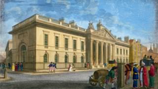 La sede de la Compañía Británica de las Indias Orientales en 1802
