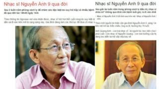 Báo chí đưa tin nhạc sĩ Nguyễn Anh 9 qua đời