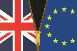 Британский флаг и флаг ЕС