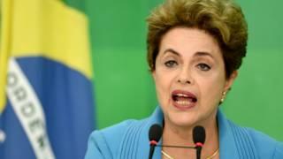 Presidenta brasileña, Dilma Rousseff, durante una conferencia de prensa.