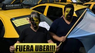 Protesta de Uber en Argentina