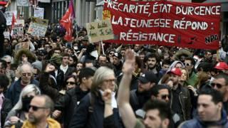 Демонстрация против изменения трудового законодательства в Лионе