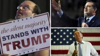 Simpatizante de Trump, em montagem com Ted Cruz e John Kasich (Fotos: Getty/AP/EPA)