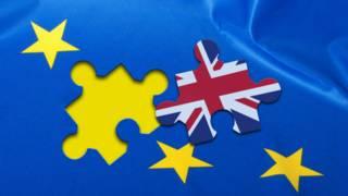 Британский флаг на фоне флага Евросоюза