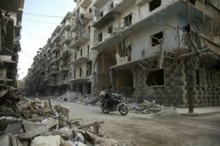 Пострадавший от боев сирийский город Алеппо