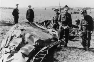 """Истребитель """"Мессершмитт"""", на котором совершил свой полет Рудольф Гесс"""