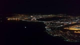 Вид на город из самолета