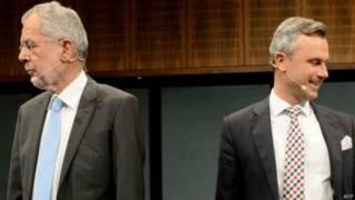 極右翼自由 黨候選人諾貝特·霍弗(Norbert Hofer)和綠黨支持的獨立候選人候選人亞歷山大·範德貝覽(Alexander Van der Bellen)。