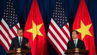 美國總統奧巴馬與越南新任國家主席陳大光