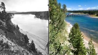 En fotos: el deslumbrante Parque de Yellowstone en 1871 y en la actualidad