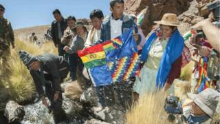 Evo Morales en los manantiales del Silala