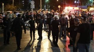 Место нападения в Тель-Авиве