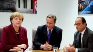 英國首相卡梅倫與德國總理默克爾和法國總統奧朗德