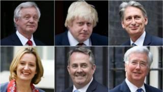 تيريزا ما عينت ستة وزراء وهم (من أعلى اليمين): فيليب هاموند، بوريس جونسون، ديفيد ديفيس، مايكل فالون، ليام فوكس، وأمبر رود