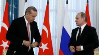Presiden Turki, Recep Tayyip Erdogan dan Presiden Rusia, Vladimir Putin