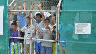 馬努斯島收容與處理中心,為保障收容者隱私,圖中個人面貌均作遮掩處理。