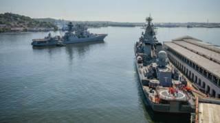 """Российские военные корабли """"Москва"""" и """"Вице-адмирал Кулаков"""" во время визита на Кубу в 2013 году"""