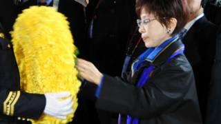 國民黨主席洪秀柱31日上午到中山陵謁陵,獻花致祭。