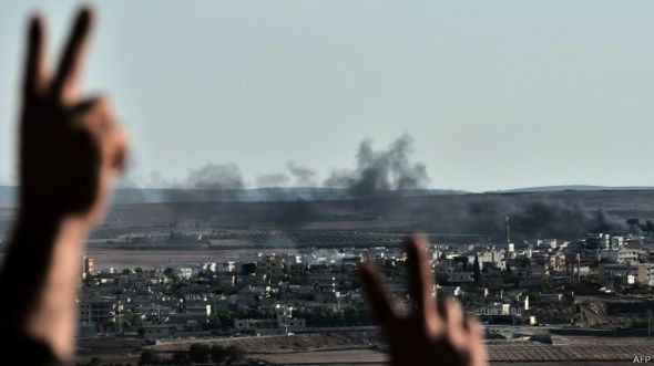 Kobane vista desde el territorio Turco