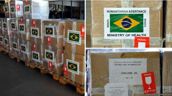 Kits médicos enviados por Brasil a los países afectados por la epidemia de ébola