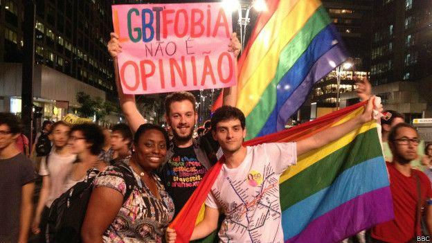 Protesta contra la homofobia en Sao Paulo.