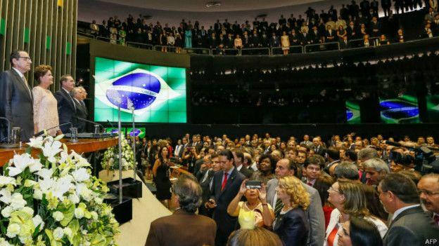 Presidenta brasileña, Dilma Rousseff, en el Congreso.