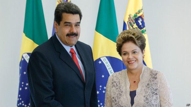 Presidente venezolano, Nicolás Maduro, junto a su homóloga de Brasil, Dilma Rousseff