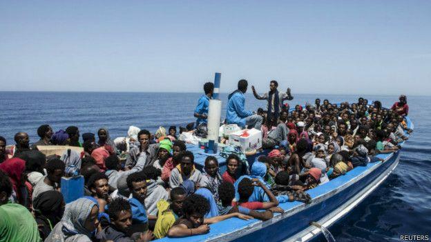Migrantes intentando cruzar el Mediterráneo