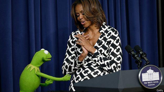 La Rana René con Michelle Obama