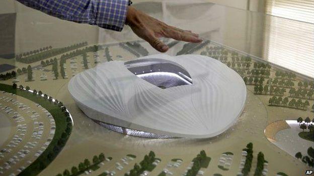 Maqueta de un estadio de Qatar 2022