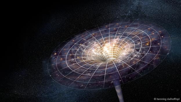 Resultado de imagen de El espacio-tiempo se curva cerca del agujero negro