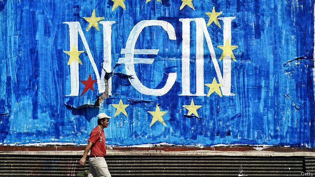 Mural contra las medidas de austeridad en Grecia