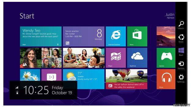 Imagen de la navegación con el Windows 8 de Microsoft, lanzado en 2012