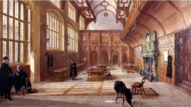 Charterhouse, dibujada en una acuarela de 1885 de John Crowter