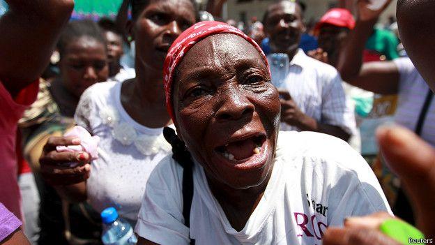 Haitiana en protesta en Santo Domingo