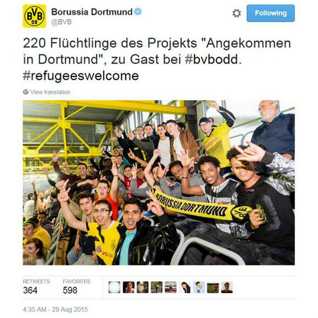 Tweet del Borussia Dortmund