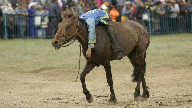Un jinete exhausto en su caballo
