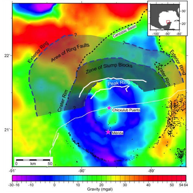 Mapa del área del cráter de Chicxulub
